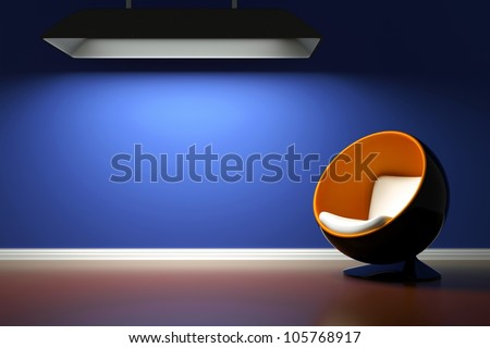 a modern room with  round chair - stock photo