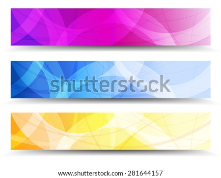 A Modern set of Banners Headers with Abstract Background - Abstract Orange Purple and Blue Web Banners - Raster Version - stock photo
