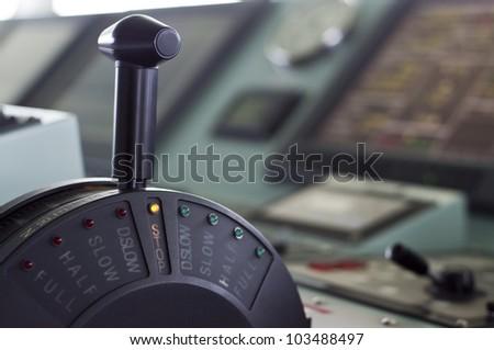 A modern ships telegraph close up - STOP - stock photo