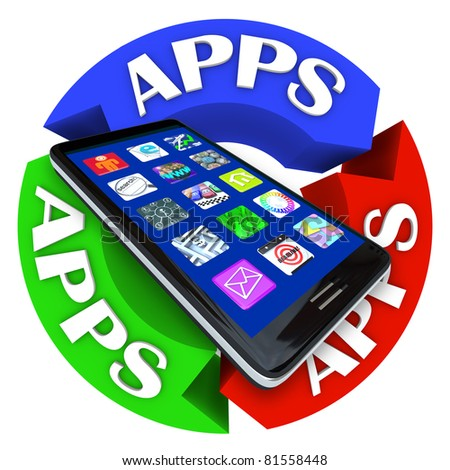 A modern smart phone with app application icons on its display surrounded by arrows in a circle showing the word Apps - stock photo