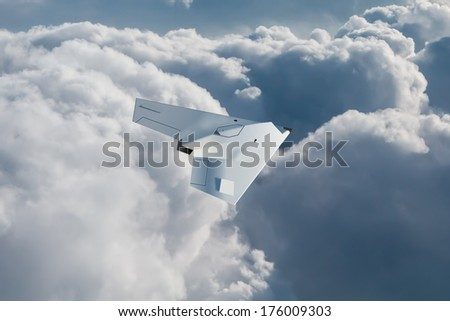 A modern style UCAV, unmanned combat air vehicle flys at high altitiude looking for enemy targets. UCAVs are armed drones. (Artists impression - computer drawing) - stock photo