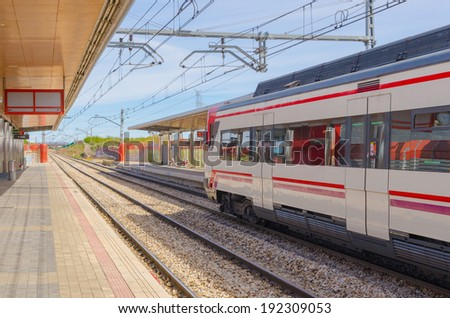 A modern train in the train station - stock photo