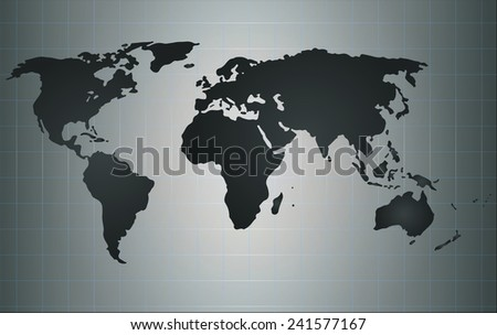 a modern world map illustration with color - stock photo