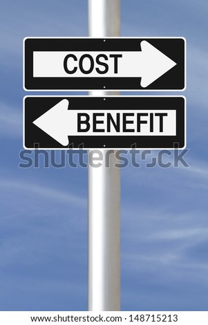 A modified one way sign on Cost Benefit Analysis  - stock photo