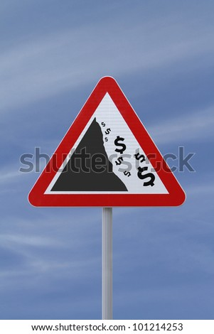 A modified road sign implying the fall or devaluation of the dollar currency. Applicable for business or financial concepts. - stock photo