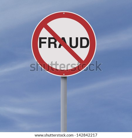 A modified road sign on Fraud   - stock photo