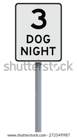 A modified speed limit sign indicating Three Dog Night  - stock photo