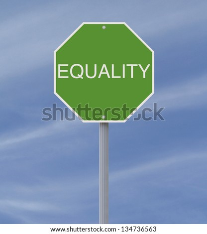 A modified stop sign on Equality - stock photo