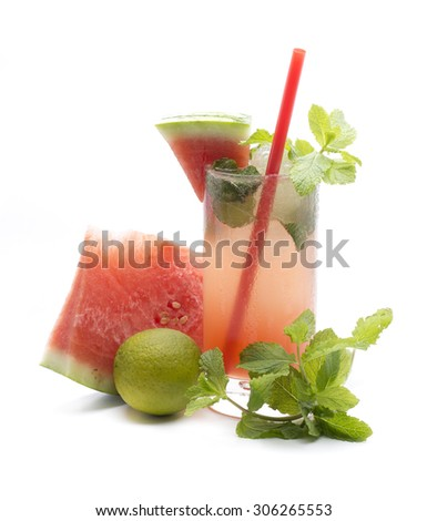 a mojito in their version of watermelon, one of the world taken cocktails - stock photo