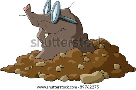 A mole wearing glasses and a hole, raster - stock photo