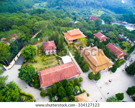 "A monastery (or ""Thi?n Vi?n Trúc Lâm"") in Dalat city from high view. - stock photo"