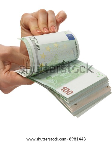 A money is in womanish hands. - stock photo