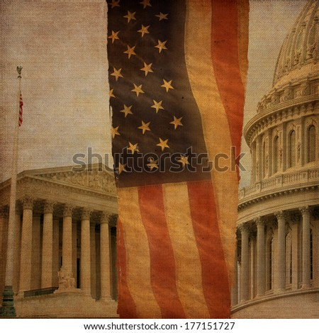 A montage including the Supreme Court, the United States Capitol dome and an American flag, digitally aged and distressed. - stock photo