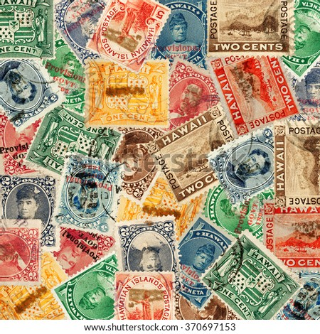 A montage of several vintage 19th century Republic of Hawaii and U.S. Hawaiian  territory provisional postage stamps. - stock photo