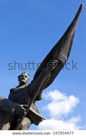 A monument commemorating the events which took place in Riga on 13th January 1905 - also known as Bloody Sunday.  The monument is situated along the east bank of the Daugava River in Riga, Latvia. - stock photo