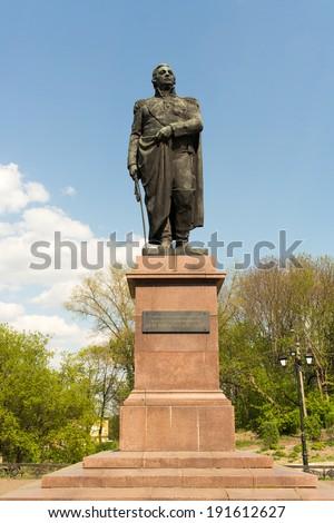 A monument to the Field-Marshal of the Russian Empire MikhailI Illarionovich Kutuzov, Smolensk, Russia - stock photo