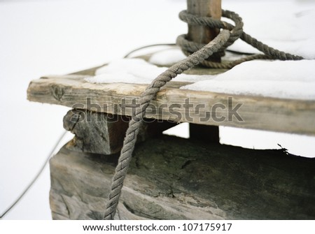 A mooring rope, close-up, Sweden. - stock photo