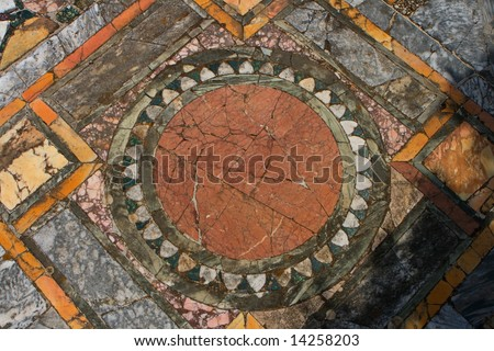 A mosaic in Ancient Ostia, Italy - stock photo