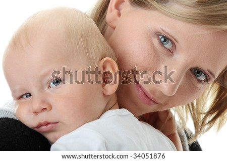 A mother and her tired cute baby boy isolated on white background - stock photo