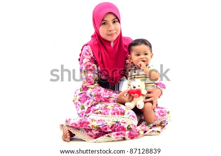 a mother and son happy isolated white background - stock photo