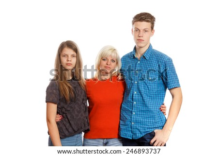 A mother with her son and her daughter - stock photo