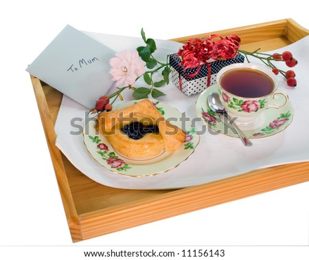 A Mothers Day Treat on a tray. - stock photo