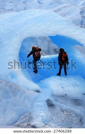 A Mountain climbers at Perito Moreno Glacier, Patagonia, Argentina - stock photo