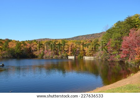 A mountain lake in the fall of the year. Located in North Carolina - stock photo