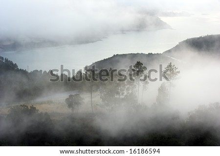 A mountain river in the north of Portugal in a misty morning - dawn - stock photo