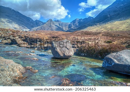 A Mountain Stream.  A Mountain Stream on the Isle of Sky. - stock photo