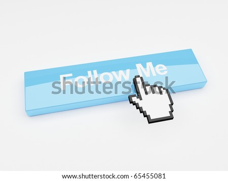 A mouse pointer hovering over a button that says follow me. - stock photo