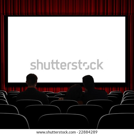 A movie theater showing blank screen from straight on shot. - stock photo