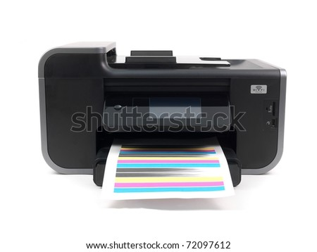 A multi function printer isolated against a white background - stock photo