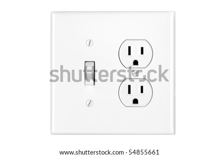 A multi power combination light switch and power outlet isolated on white. - stock photo