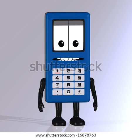 A multicolored cell phone with arms and legs Image contains a Clipping Path - stock photo