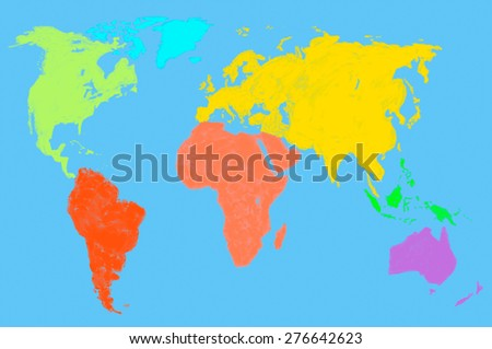 a multicolored water color map of the world, isolated - stock photo