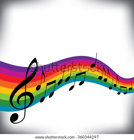 A musical score with a rainbow motif and room to place text - stock photo