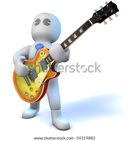A musician is playing an electric guitar - stock photo