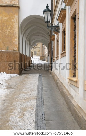 A narrow arched passage not far from the Old Town Square.  Prague, Czech - stock photo