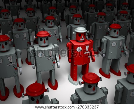 A narrow light reveals a red, 1950s style tin toy robot, standing out in rows of similar gray robots.    - stock photo