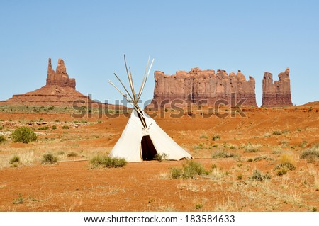 A native american tee pee in Monument valley - stock photo