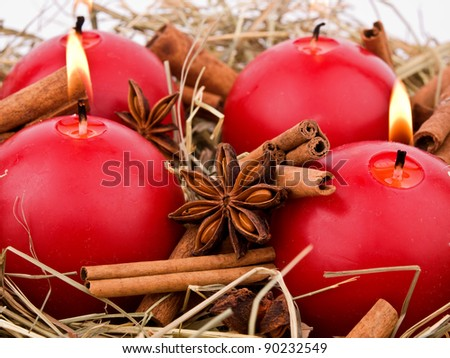 A natural advent wreath on white background. - stock photo
