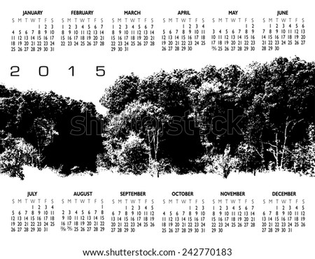 A 2015 Nature Woods and Tree Calendar for Print or Web - stock photo