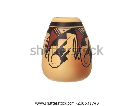A Navajo Vase isolated on a white background - stock photo