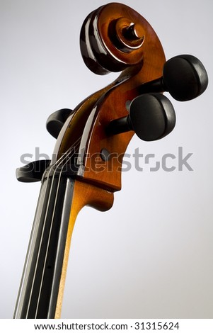 a neck and scroll of the cello - stock photo