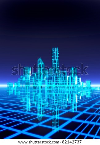 A neon grid effect backdrop with a futuristic like city. Room to drop in text - stock photo