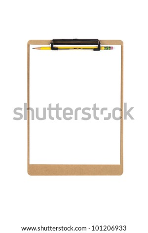 A new clipboard with a blank sheet of paper for copy placement.  Image is isolated on white for designer convenience. - stock photo
