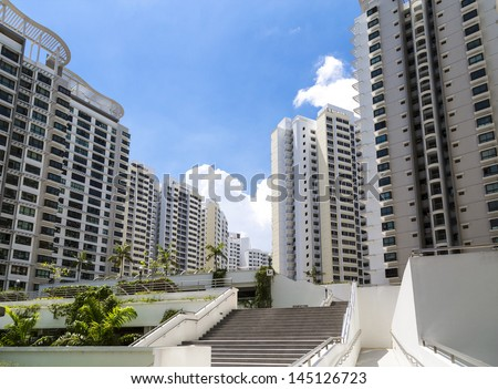 A new estate with neighborhood facities and carpark at the center- Singapore - stock photo