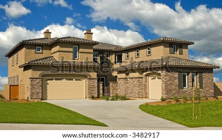 A new home in a new subdivision awaiting a new family - stock photo