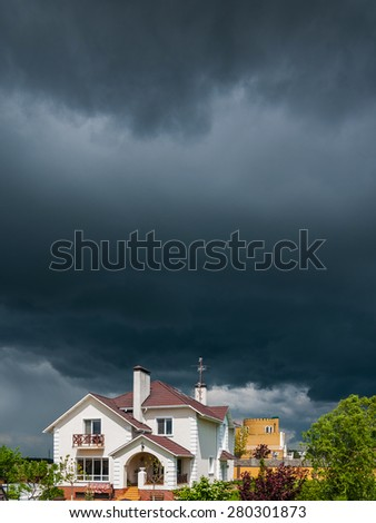 A new house with a garden - stock photo